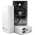 Beyond Cell Universal Dual USB Power Bank - Wing Skull / White