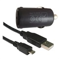 Mini Chargeur Allume-Cigare MicroUSB / USB 2.1A Code - Noir