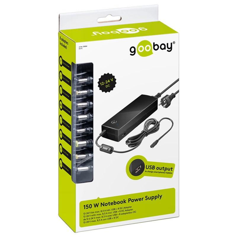 chargeur secteur adaptateur universel goobay pour pc portable 150w. Black Bedroom Furniture Sets. Home Design Ideas