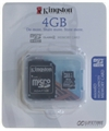 Carte M�moire Kingston Micro SDHC Classe 4 (TransFlash) - 4Go